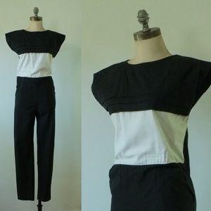 vintage 1970s jumpsuit   black + white jumpsuit